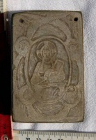 Plaque with image of Christ and the symbols of the four apostles from church SR 022.A
